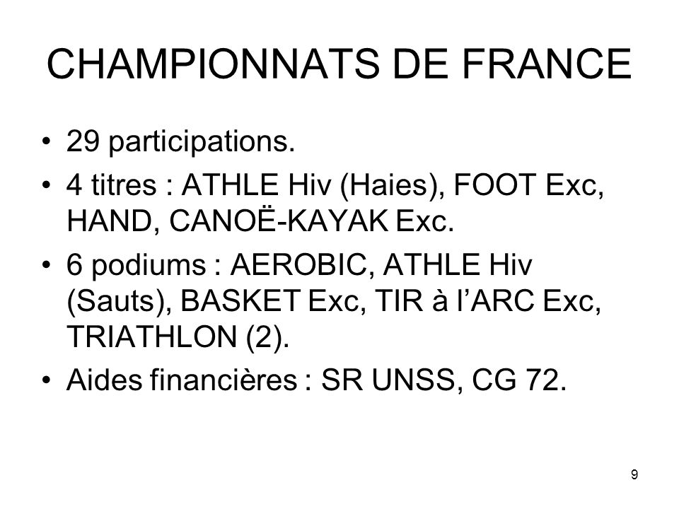 9 CHAMPIONNATS DE FRANCE 29 participations.