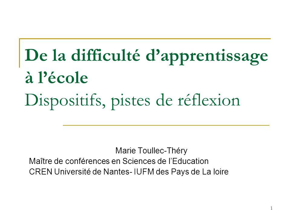 1 De la difficulté dapprentissage à lécole Dispositifs, pistes de réflexion Marie Toullec-Théry Maître de conférences en Sciences de lEducation CREN U