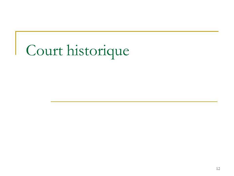 12 Court historique