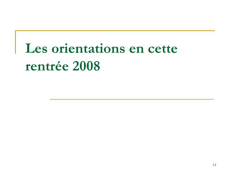 14 Les orientations en cette rentrée 2008