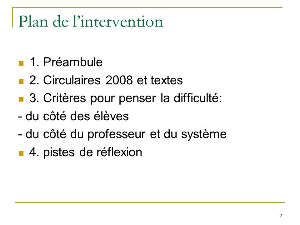 2 Plan de lintervention 1. Préambule 2. Circulaires 2008 et textes 3. Critères pour penser la difficulté: - du côté des élèves - du côté du professeur