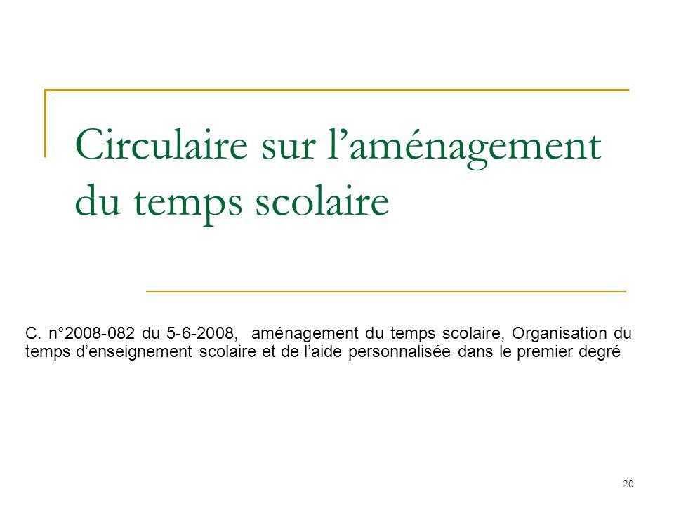 20 Circulaire sur laménagement du temps scolaire C. n°2008-082 du 5-6-2008, aménagement du temps scolaire, Organisation du temps denseignement scolair