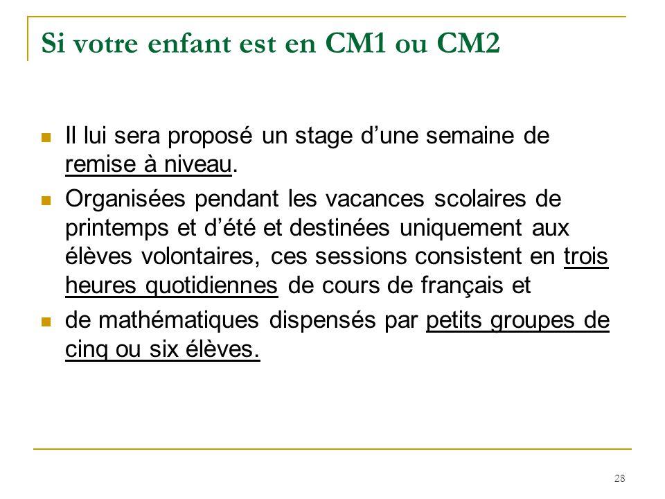 28 Si votre enfant est en CM1 ou CM2 Il lui sera proposé un stage dune semaine de remise à niveau. Organisées pendant les vacances scolaires de printe