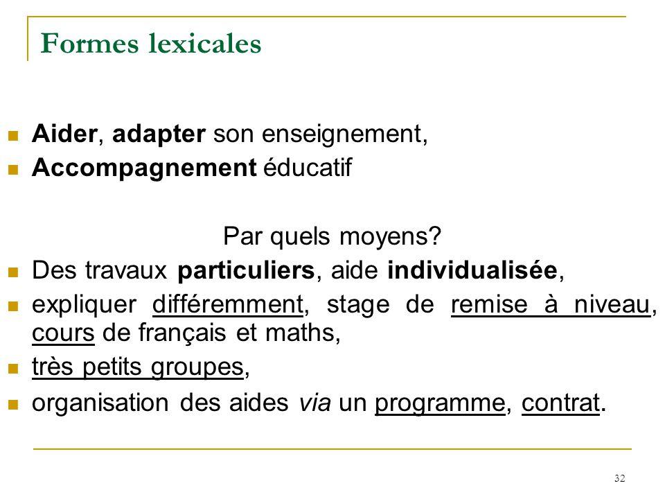 32 Formes lexicales Aider, adapter son enseignement, Accompagnement éducatif Par quels moyens? Des travaux particuliers, aide individualisée, explique