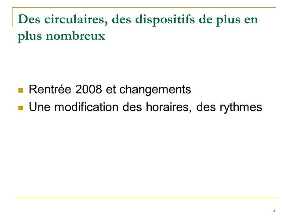 4 Des circulaires, des dispositifs de plus en plus nombreux Rentrée 2008 et changements Une modification des horaires, des rythmes