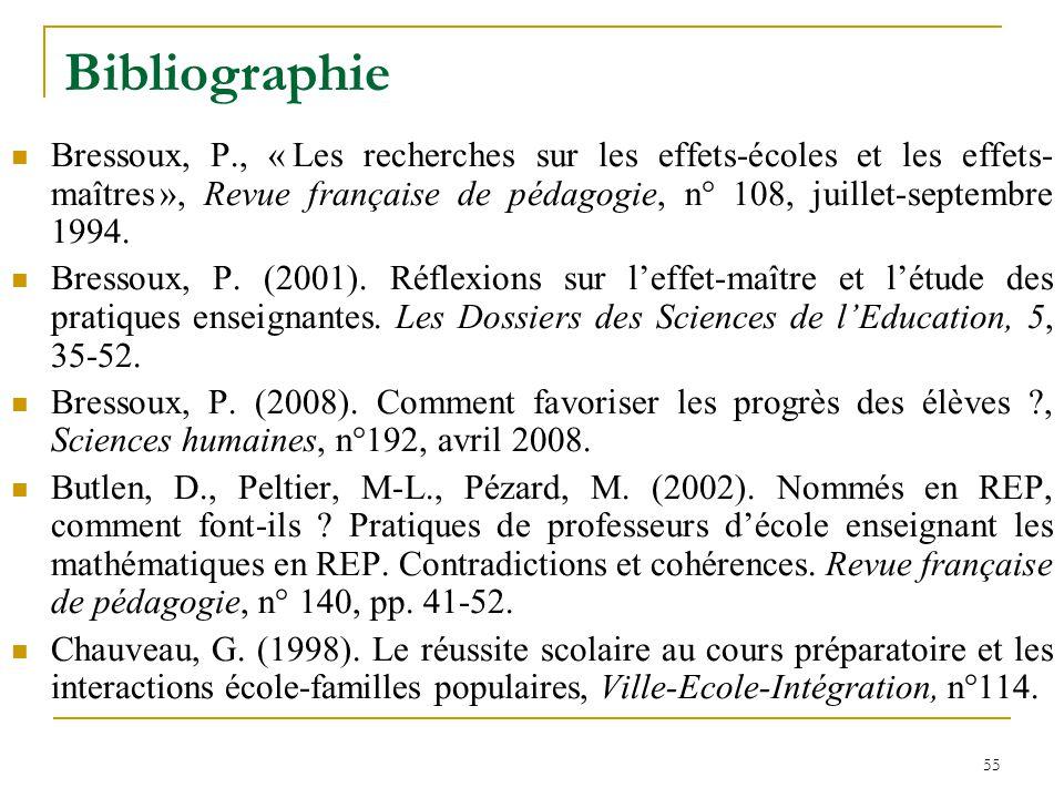 55 Bibliographie Bressoux, P., « Les recherches sur les effets-écoles et les effets- maîtres », Revue française de pédagogie, n° 108, juillet-septembr