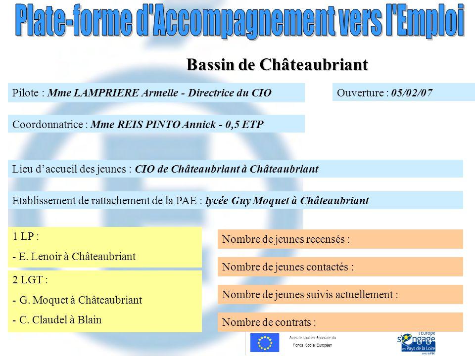 Avec le soutien financier du Fonds Social Européen Bassin de Châteaubriant Pilote : Mme LAMPRIERE Armelle - Directrice du CIO Coordonnatrice : Mme REI