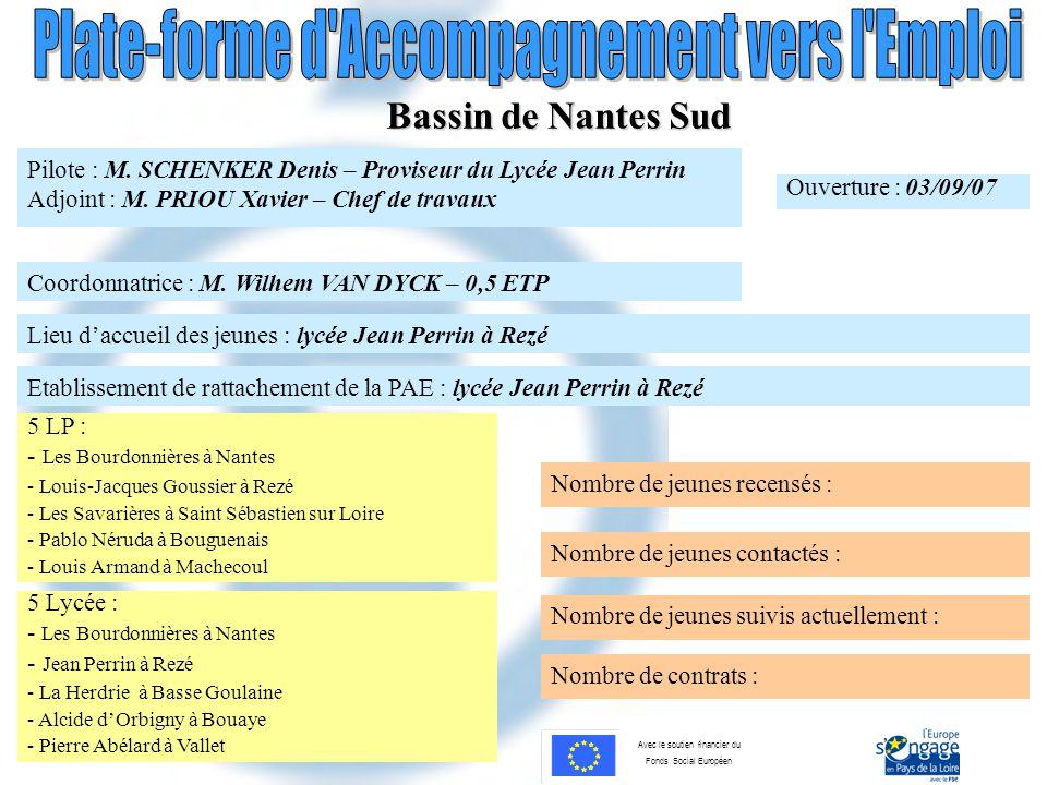 Avec le soutien financier du Fonds Social Européen Bassin de Nantes Sud Pilote : M. SCHENKER Denis – Proviseur du Lycée Jean Perrin Adjoint : M. PRIOU