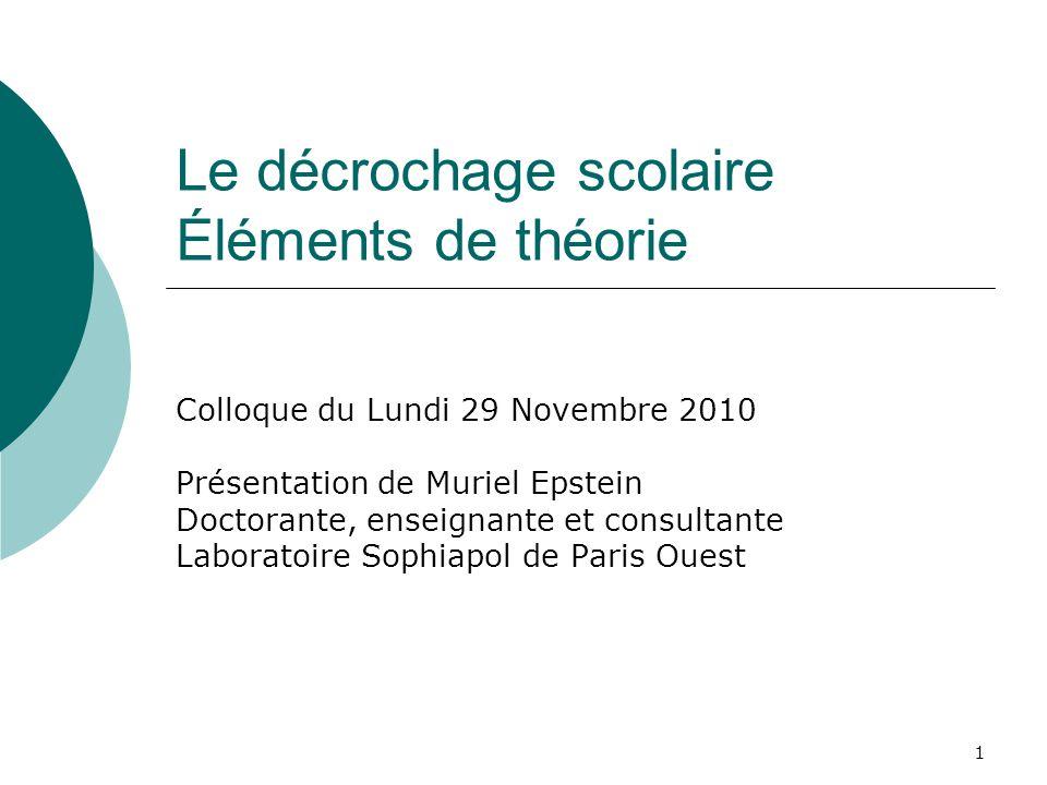 1 Le décrochage scolaire Éléments de théorie Colloque du Lundi 29 Novembre 2010 Présentation de Muriel Epstein Doctorante, enseignante et consultante