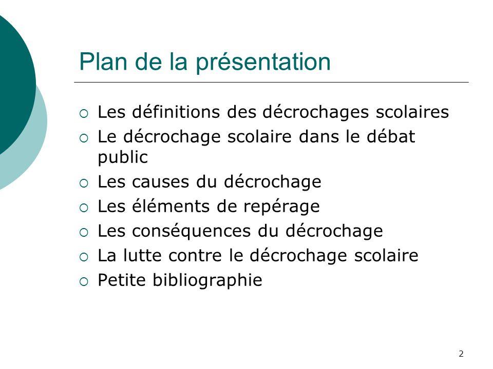 2 Plan de la présentation Les définitions des décrochages scolaires Le décrochage scolaire dans le débat public Les causes du décrochage Les éléments