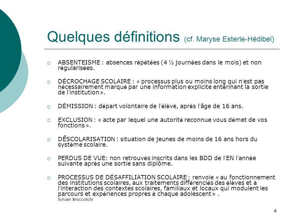 4 Quelques définitions (cf. Maryse Esterle-Hédibel) ABSENTEISME : absences r é p é t é es (4 ½ journ é es dans le mois) et non r é gularis é es. D É C