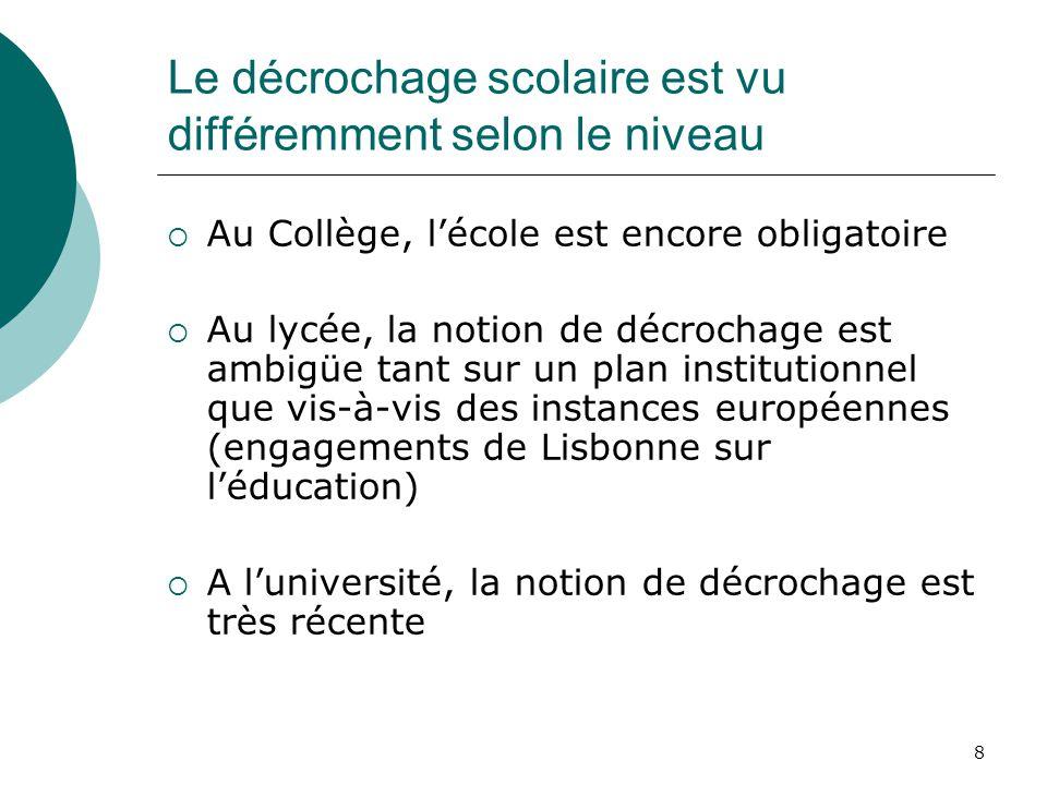 8 Le décrochage scolaire est vu différemment selon le niveau Au Collège, lécole est encore obligatoire Au lycée, la notion de décrochage est ambigüe t