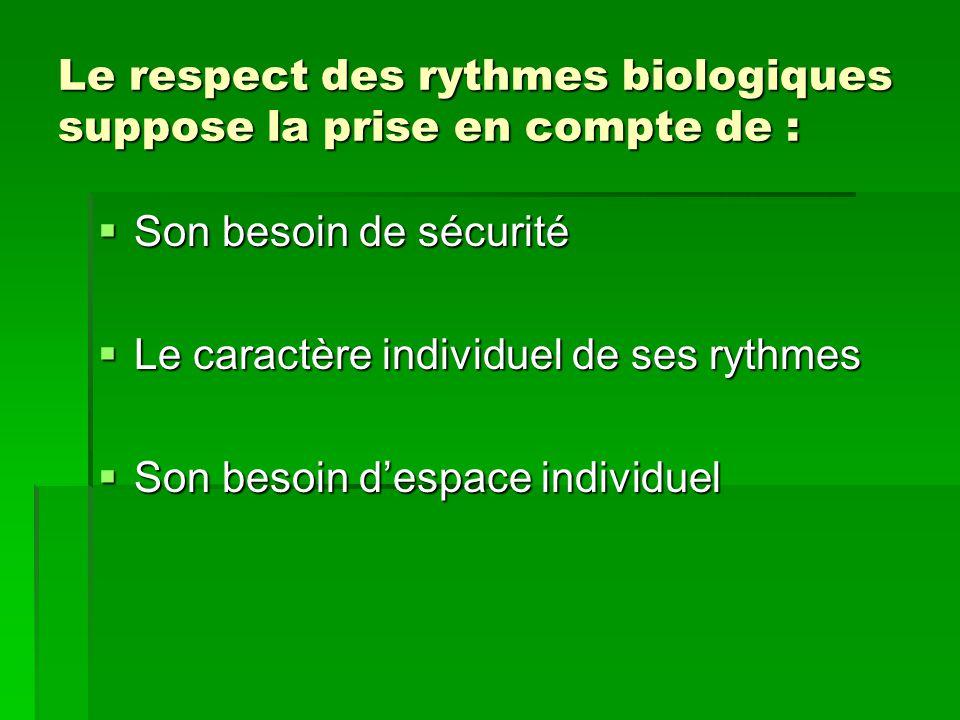 Le respect des rythmes biologiques suppose la prise en compte de : Son besoin de sécurité Son besoin de sécurité Le caractère individuel de ses rythme