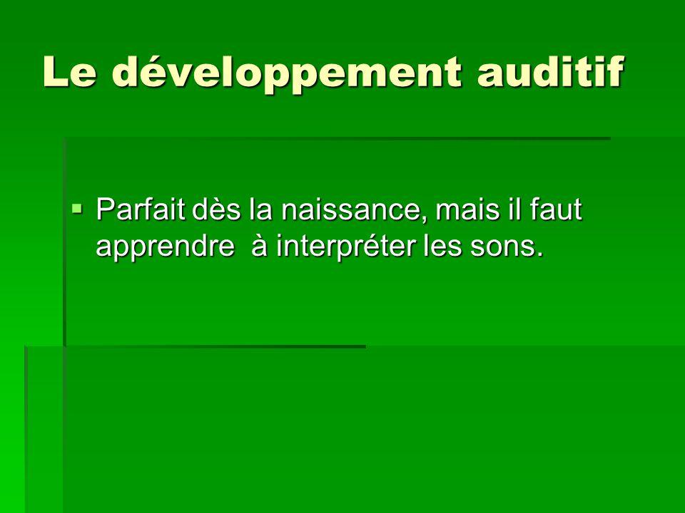 Le développement auditif Parfait dès la naissance, mais il faut apprendre à interpréter les sons. Parfait dès la naissance, mais il faut apprendre à i
