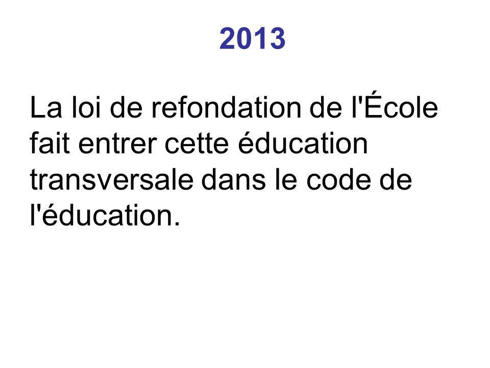 2013 La loi de refondation de l École fait entrer cette éducation transversale dans le code de l éducation.