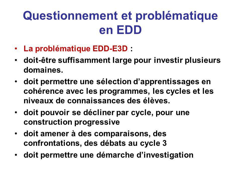 Questionnement et problématique en EDD La problématique EDD-E3D : doit-être suffisamment large pour investir plusieurs domaines.
