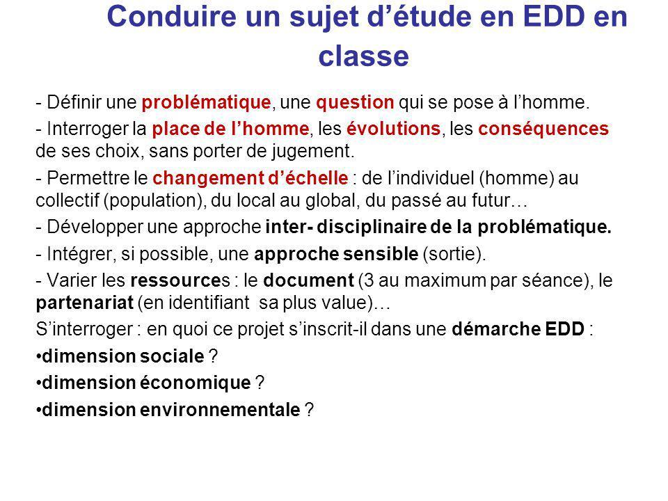 Conduire un sujet détude en EDD en classe - Définir une problématique, une question qui se pose à lhomme.
