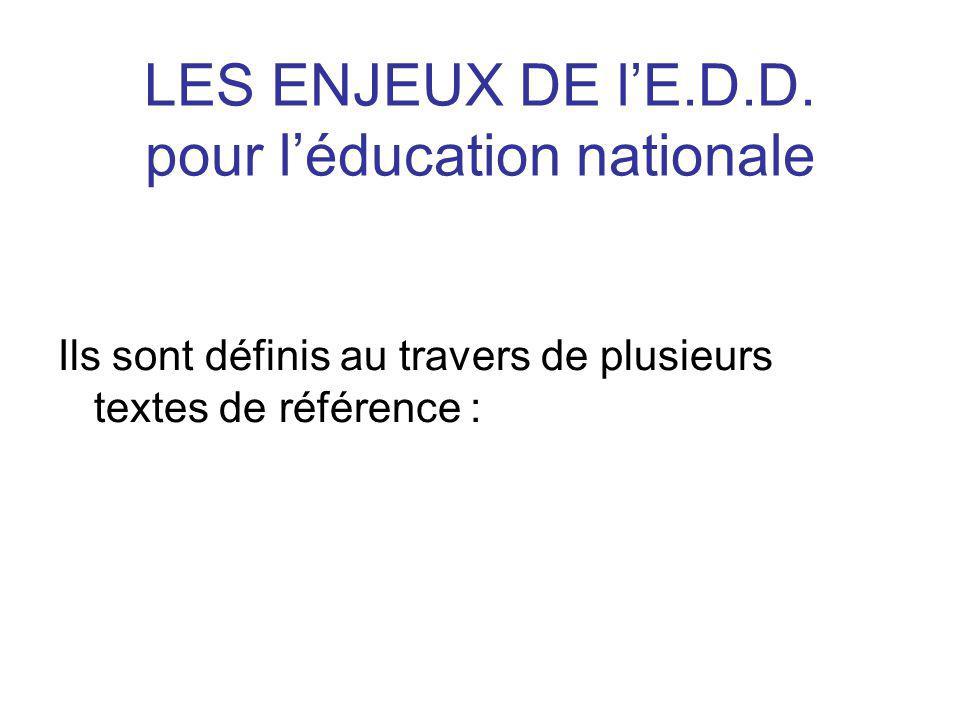 1- La circulaire du 8 juillet 2004 ( circulaire n°2004-110 du 8 juillet 2004 intitulée : « Généralisation dune Education à lEnvironnement pour un Développement Durable ».) Elle pose les fondements de ce que doit être une éducation au développement durable.