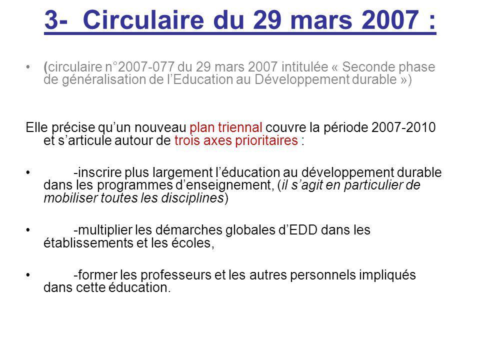 3- Circulaire du 29 mars 2007 : (circulaire n°2007-077 du 29 mars 2007 intitulée « Seconde phase de généralisation de lEducation au Développement durable ») Elle précise quun nouveau plan triennal couvre la période 2007-2010 et sarticule autour de trois axes prioritaires : -inscrire plus largement léducation au développement durable dans les programmes denseignement, (il sagit en particulier de mobiliser toutes les disciplines) -multiplier les démarches globales dEDD dans les établissements et les écoles, -former les professeurs et les autres personnels impliqués dans cette éducation.