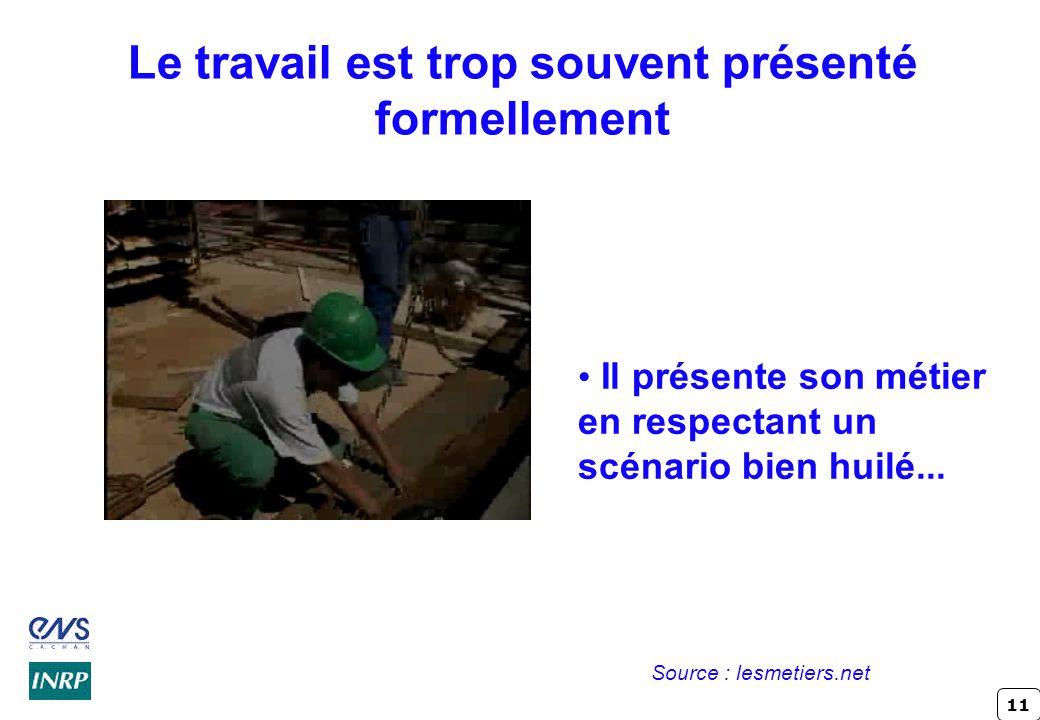 11 Le travail est trop souvent présenté formellement Il présente son métier en respectant un scénario bien huilé... Source : lesmetiers.net