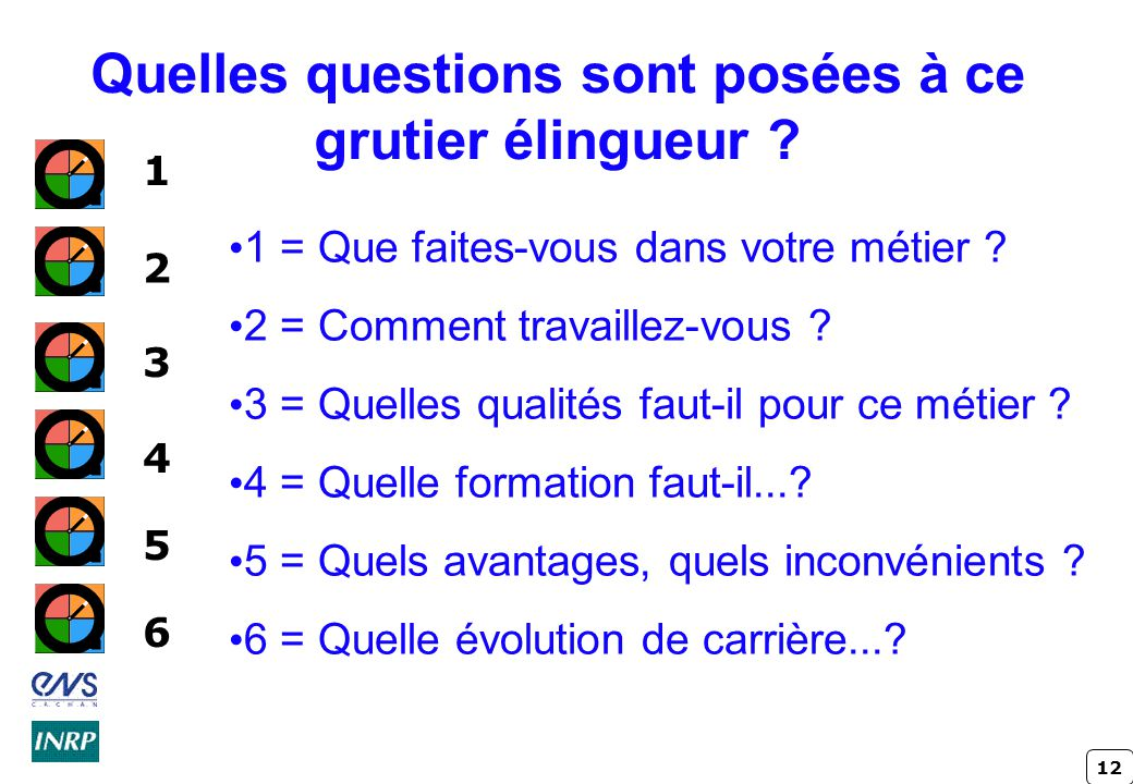 12 Quelles questions sont posées à ce grutier élingueur ? 1 = Que faites-vous dans votre métier ? 2 = Comment travaillez-vous ? 3 = Quelles qualités f