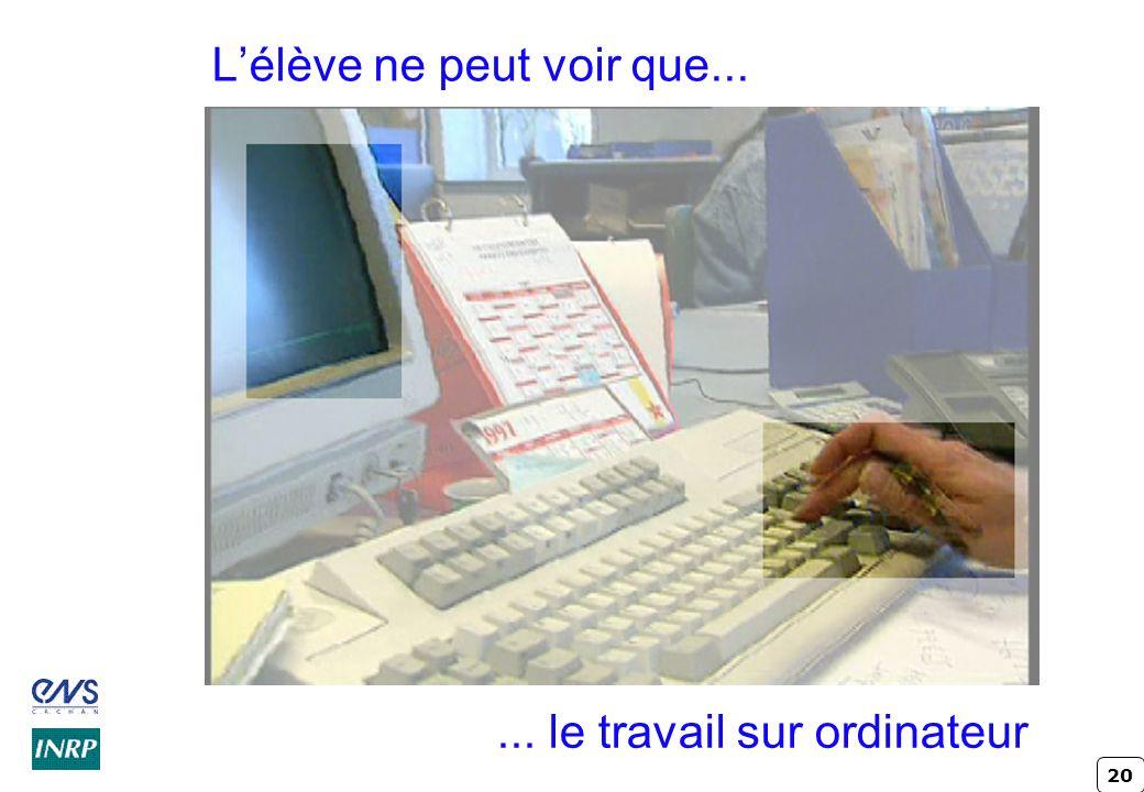 20 Lélève ne peut voir que...... le travail sur ordinateur