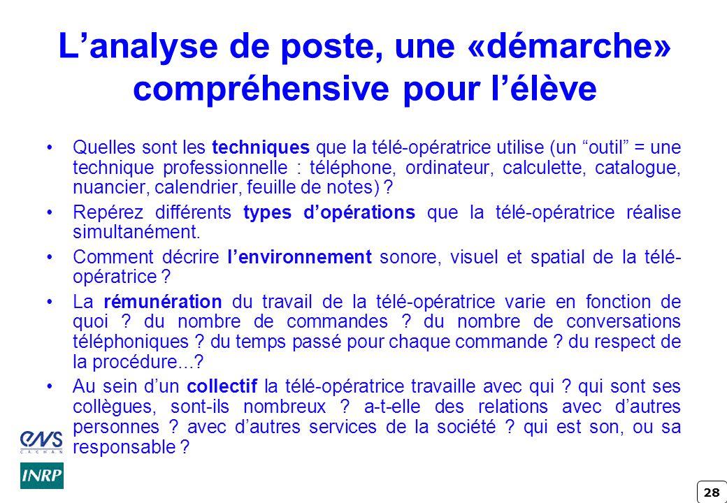 28 Lanalyse de poste, une «démarche» compréhensive pour lélève Quelles sont les techniques que la télé-opératrice utilise (un outil = une technique pr