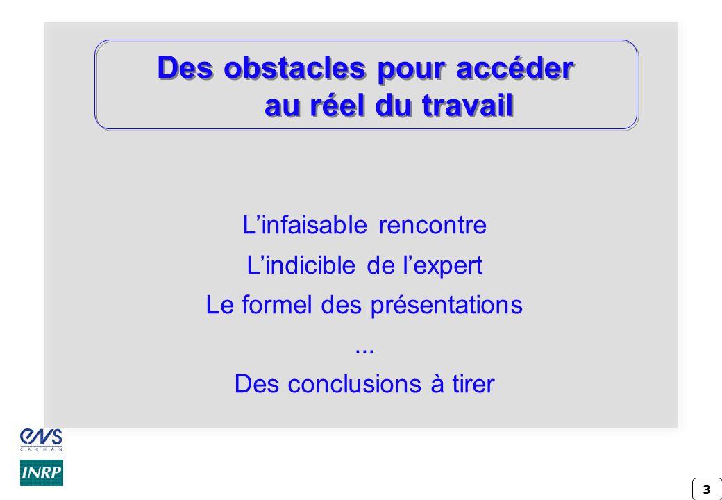 3 Des obstacles pour accéder au réel du travail Linfaisable rencontre Lindicible de lexpert Le formel des présentations... Des conclusions à tirer