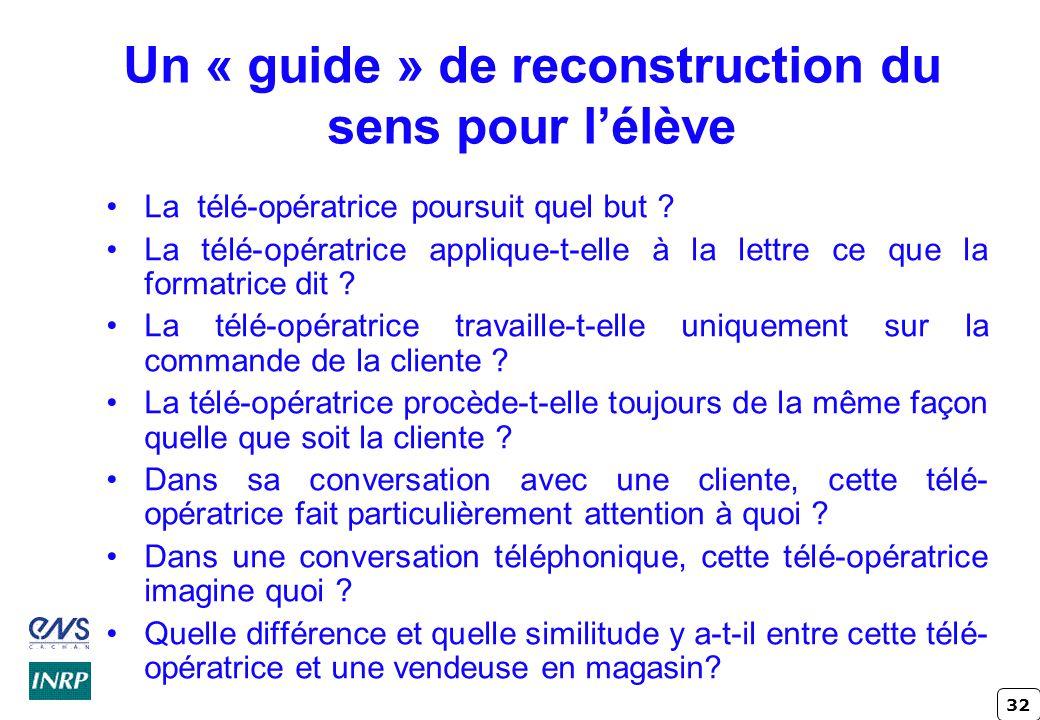 32 Un « guide » de reconstruction du sens pour lélève La télé-opératrice poursuit quel but ? La télé-opératrice applique-t-elle à la lettre ce que la