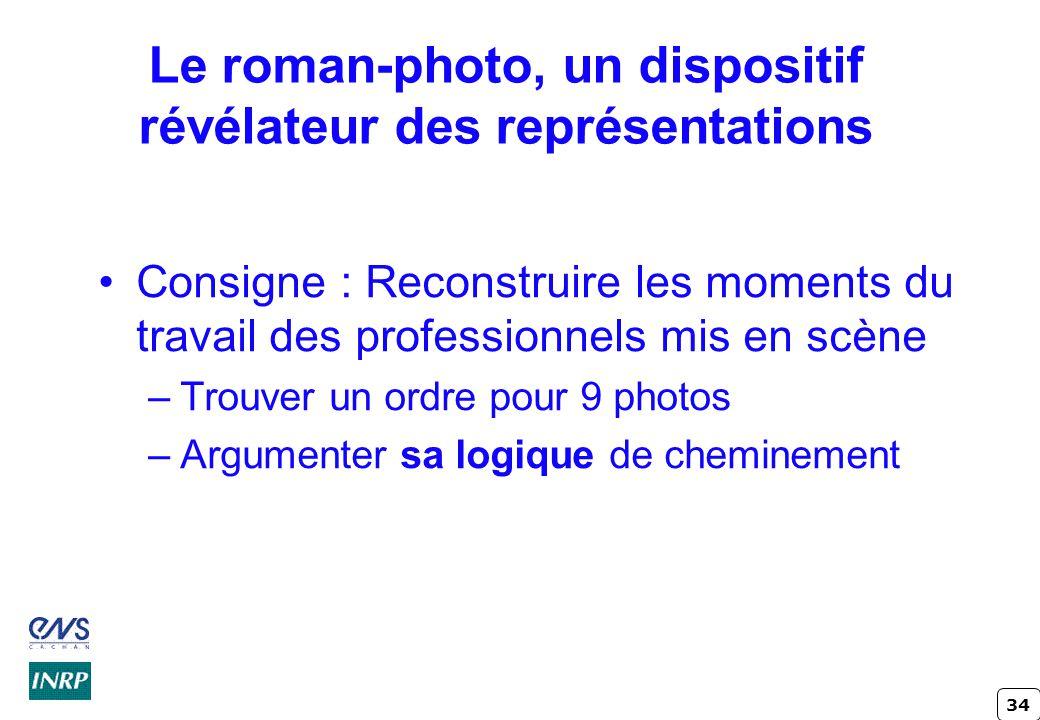 34 Le roman-photo, un dispositif révélateur des représentations Consigne : Reconstruire les moments du travail des professionnels mis en scène –Trouve