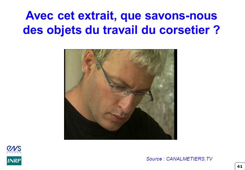 41 Avec cet extrait, que savons-nous des objets du travail du corsetier ? Source : CANALMETIERS.TV