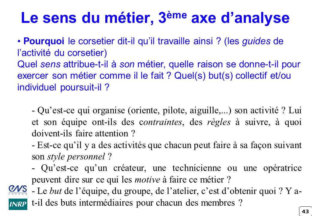 43 Le sens du métier, 3 ème axe danalyse Pourquoi le corsetier dit-il quil travaille ainsi ? (les guides de lactivité du corsetier) Quel sens attribue