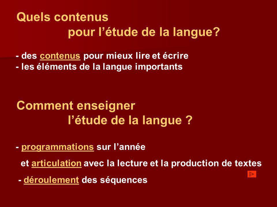 Quels contenus pour létude de la langue? - des contenus pour mieux lire et écrirecontenus - les éléments de la langue importants Comment enseigner lét