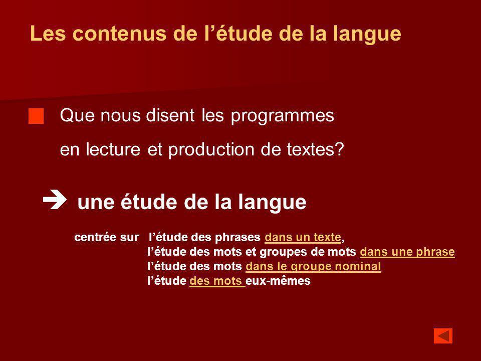 Les contenus de létude de la langue Que nous disent les programmes en lecture et production de textes? une étude de la langue centrée sur létude des p