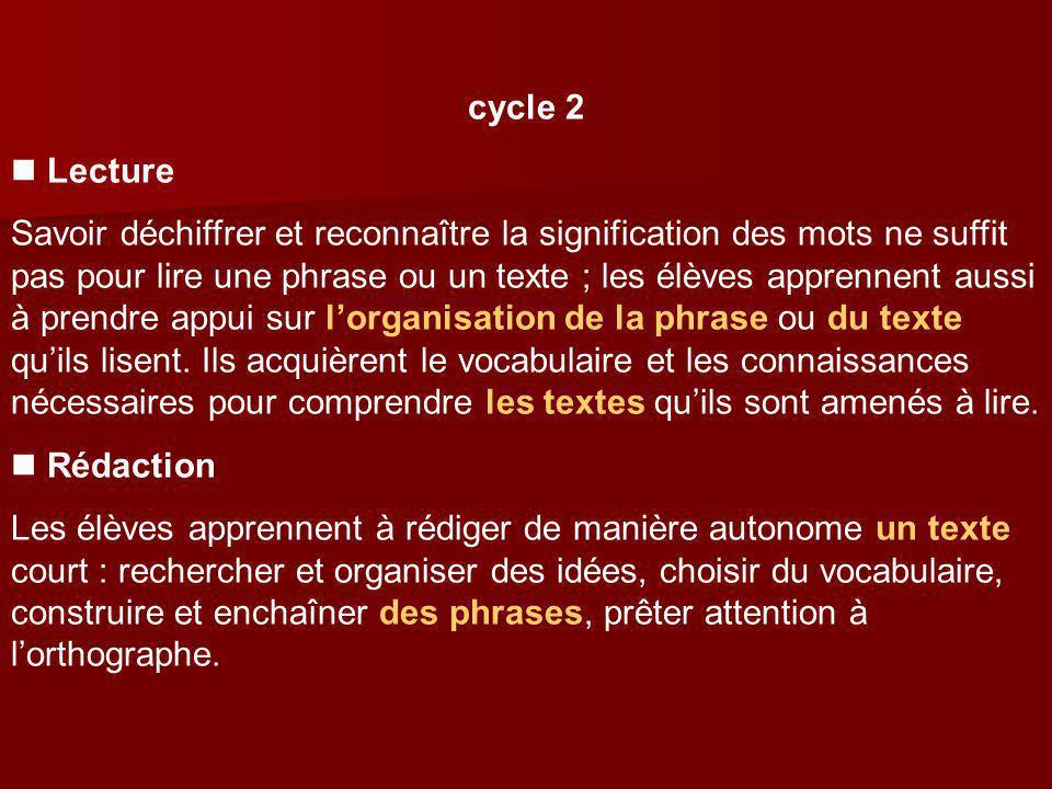 cycle 2 Lecture Savoir déchiffrer et reconnaître la signification des mots ne suffit pas pour lire une phrase ou un texte ; les élèves apprennent auss