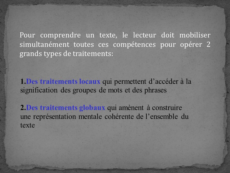 Pour comprendre un texte, le lecteur doit mobiliser simultanément toutes ces compétences pour opérer 2 grands types de traitements: 1.Des traitements