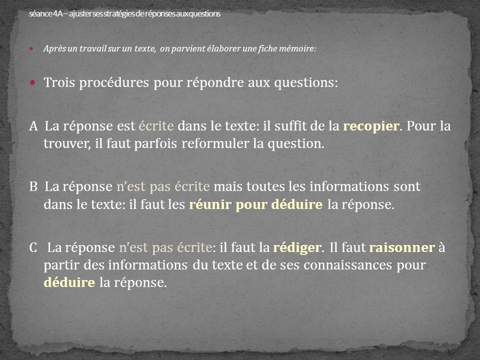 Après un travail sur un texte, on parvient élaborer une fiche mémoire: Trois procédures pour répondre aux questions: A La réponse est écrite dans le t