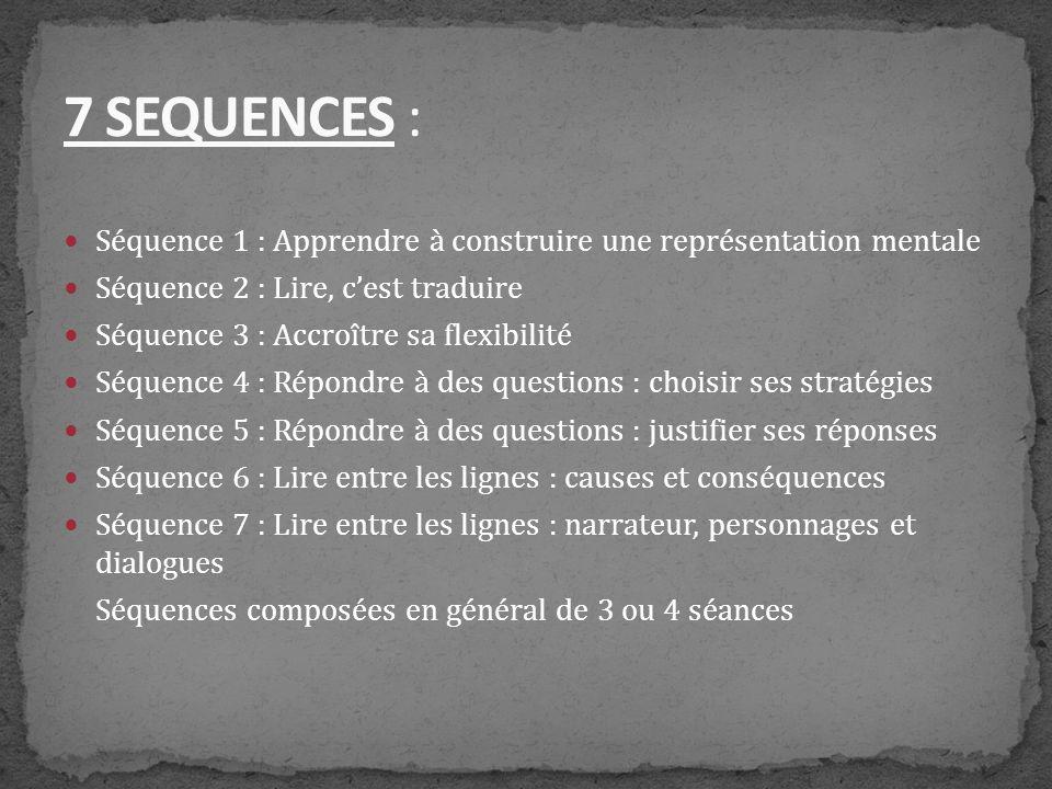 Séquence 1 : Apprendre à construire une représentation mentale Séquence 2 : Lire, cest traduire Séquence 3 : Accroître sa flexibilité Séquence 4 : Rép