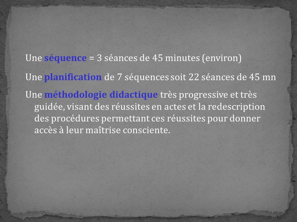 Une séquence = 3 séances de 45 minutes (environ) Une planification de 7 séquences soit 22 séances de 45 mn Une méthodologie didactique très progressiv