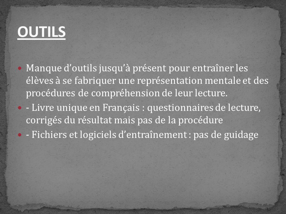 Deux professeurs Sylvie Cèbe (professeur de psychologie) et Roland Goigoux (IUFM 63) ont mis au point un outil pour apprendre à comprendre des textes narratifs.