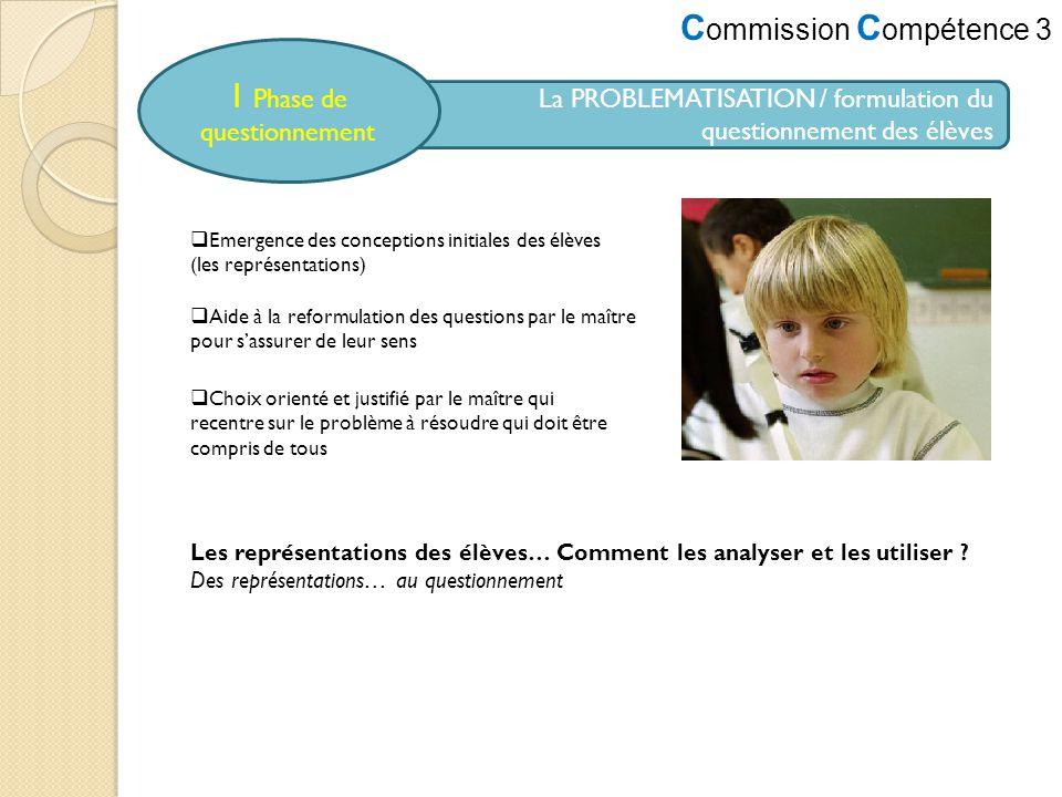 C ommission C ompétence 3 La PROBLEMATISATION / formulation du questionnement des élèves 1 Phase de questionnement Emergence des conceptions initiales