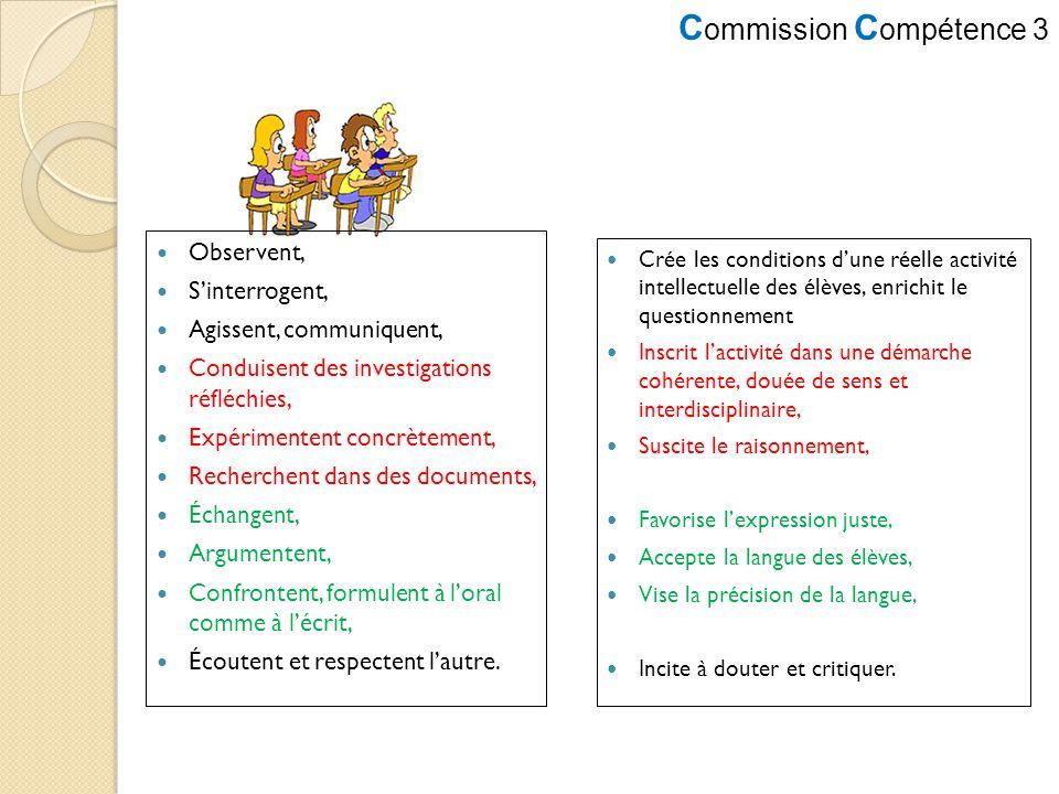 C ommission C ompétence 3 Observent, Sinterrogent, Agissent, communiquent, Conduisent des investigations réfléchies, Expérimentent concrètement, Reche