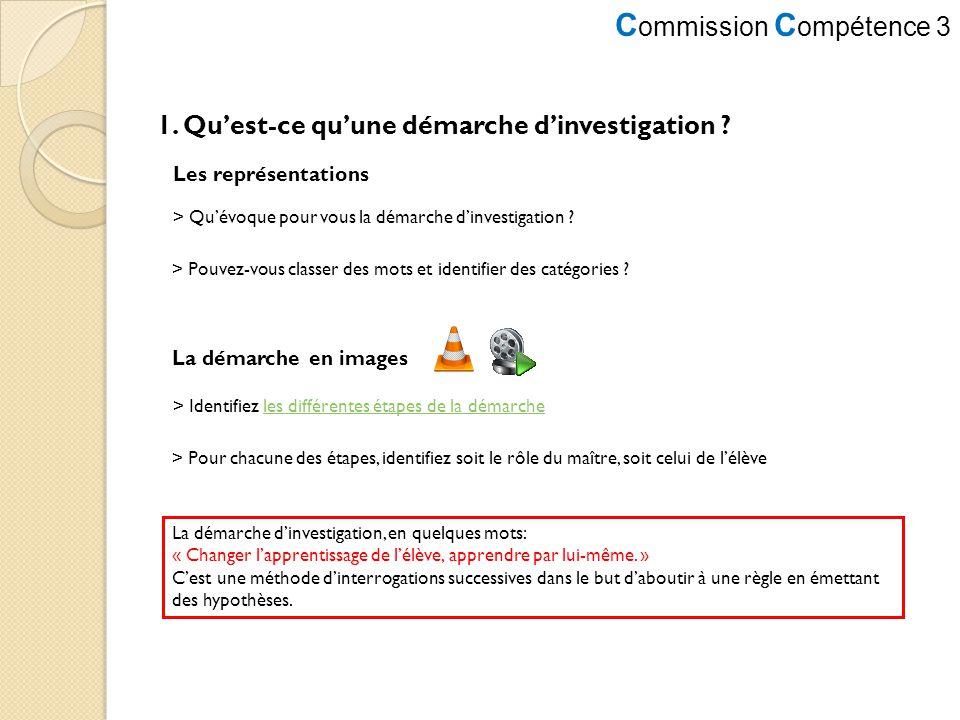 C ommission C ompétence 3 1. Quest-ce quune démarche dinvestigation ? > Quévoque pour vous la démarche dinvestigation ? > Pouvez-vous classer des mots