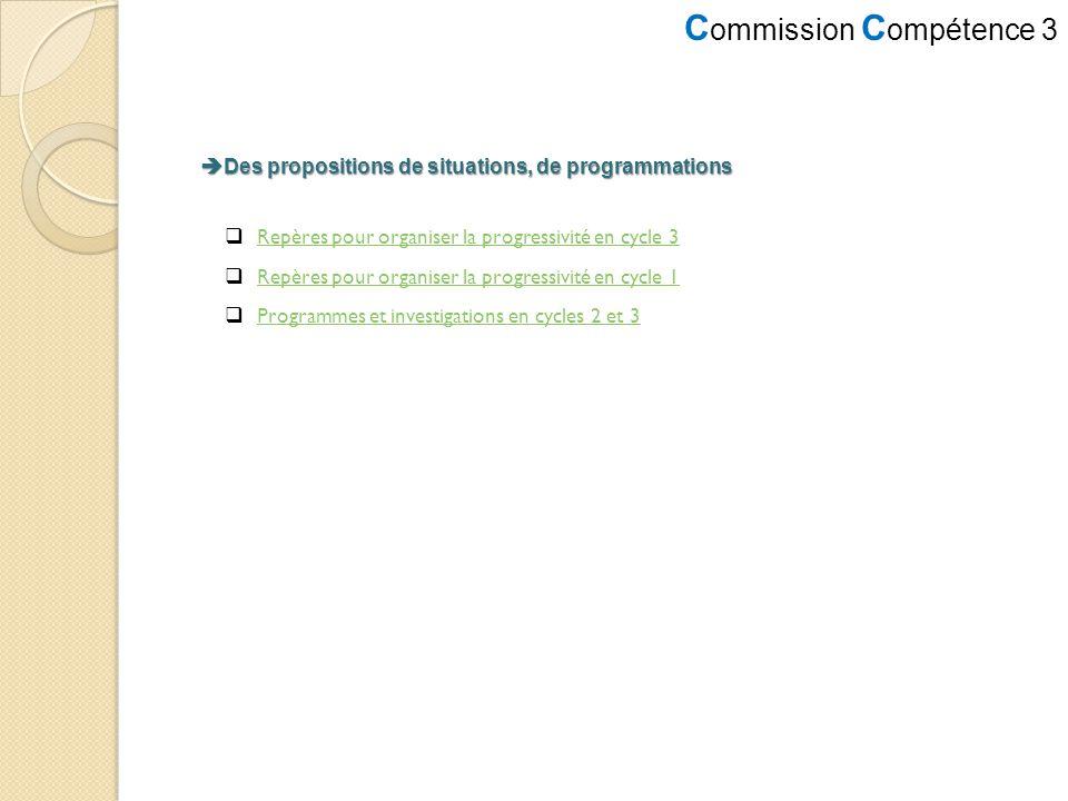 C ommission C ompétence 3 Des propositions de situations, de programmations Des propositions de situations, de programmations Repères pour organiser l