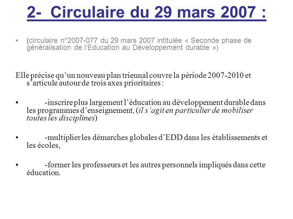 2- Circulaire du 29 mars 2007 : (circulaire n°2007-077 du 29 mars 2007 intitulée « Seconde phase de généralisation de lEducation au Développement durable ») Elle précise quun nouveau plan triennal couvre la période 2007-2010 et sarticule autour de trois axes prioritaires : -inscrire plus largement léducation au développement durable dans les programmes denseignement, (il sagit en particulier de mobiliser toutes les disciplines) -multiplier les démarches globales dEDD dans les établissements et les écoles, -former les professeurs et les autres personnels impliqués dans cette éducation.