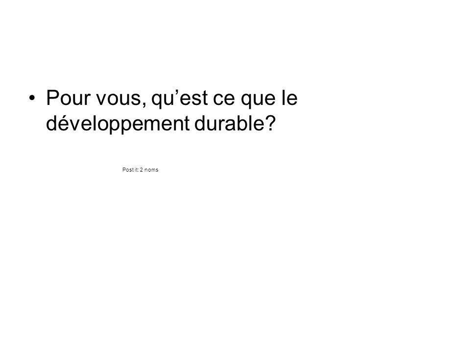 Pour vous, quest ce que le développement durable? Post it: 2 noms