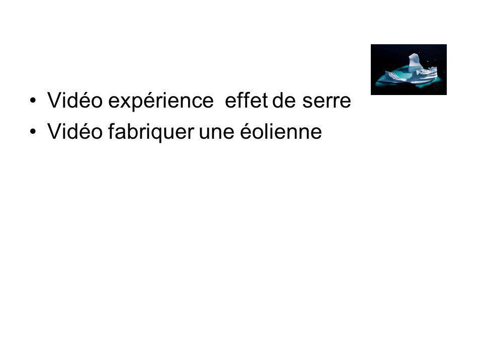 Vidéo expérience effet de serre Vidéo fabriquer une éolienne