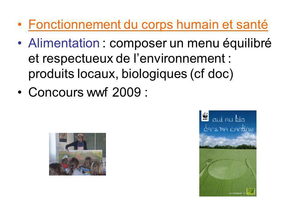 Fonctionnement du corps humain et santé Alimentation : composer un menu équilibré et respectueux de lenvironnement : produits locaux, biologiques (cf doc) Concours wwf 2009 :