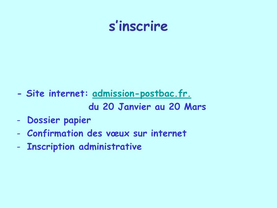 sinscrire - Site internet: admission-postbac.fr. admission-postbac.fr.