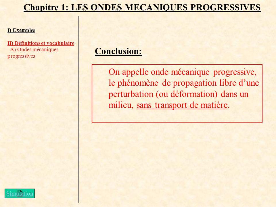 Chapitre 1: LES ONDES MECANIQUES PROGRESSIVES I) Exemples II) Définitions et vocabulaire A) Ondes mécaniques progressives On appelle onde mécanique pr